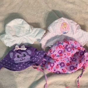 Lot of 4 baby sun hats